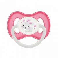 Canpol Bunny&Company - Пустышка симметричная силиконовая, 6-18 месяцев, розовая