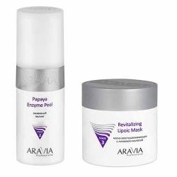 Фото Aravia Professional -  Энзимный пилинг Papaya Enzyme Peel, 150 мл + Маска восстанавливающая с липоевой кислотой Revitalizing Lipoic Mask, 300 мл