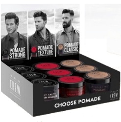 "Фото American Crew Choose Pomade Display - Дисплей ""Выберите свой стайлинг"" ( pomade 85гр х3,  heavy hold pomade 85гр х3, cream pomade 85гр х3)"
