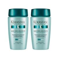 Купить Kerastase Resistance Bain Force Architecte - Набор Шампунь-ванна укрепляющий для сильно поврежденных волос, 2 шт х 250 мл