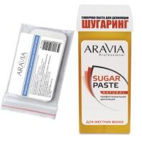 Aravia Professional -  Бандаж полимерный, 45х70 мм, 30 шт + Паста сахарная для депиляции в картридже Натуральная, мягкой консистенции, 150 г