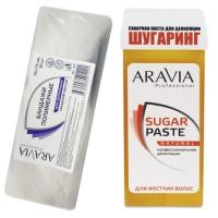 Aravia Professional -  Бандаж для шугаринга полимерный, 70х175 мм, 30 шт + Паста сахарная для депиляции в картридже Натуральная, мягкой консистенции, 150 г