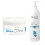 """Фото Aravia Professional -  Очищающий гель с морской солью """"Pedicure Bath Gel"""", 300 мл + Активный увлажняющий крем с гиалуроновой кислотой """"Active Cream"""", 150 мл"""