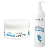 Купить Aravia Professional - Очищающий гель с морской солью Pedicure Bath Gel , 300 мл + Активный увлажняющий крем с гиалуроновой кислотой Active Cream , 150 мл