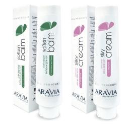 """Фото Aravia Professional -  Смягчающий бальзам для ног с эфирными маслами """"Soft Balm"""", 100 мл + Шёлковый крем для ног с пудрой """"Silky Cream"""", 100 мл"""
