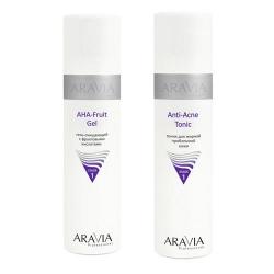 Фото Aravia Professional -  Гель очищающий с фруктовыми кислотами AHA - Fruit Gel, 250 мл + Тоник для жирной проблемной кожи Anti-Acne Tonic, 250 мл
