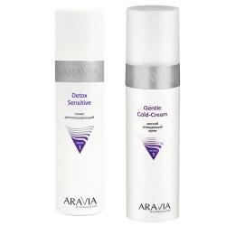 Фото Aravia Professional -  Мягкий очищающий крем Gentle Cold-Cream, 250 мл + Тоник детоксицирующий Detox Sensitive, 250 мл