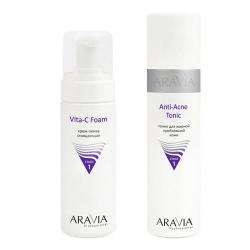 Фото Aravia Professional -  Тоник для жирной проблемной кожи Anti-Acne Tonic, 250 мл + Крем-пенка очищающая Vita-C Foaming, 160 мл