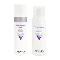 Aravia Professional -  Тоник с фруктовыми кислотами AHA  - Glycolic Tonic, 250 мл + Крем-пенка очищающая Vita-C Foaming, 160 мл