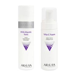 Фото Aravia Professional -  Тоник с фруктовыми кислотами AHA  - Glycolic Tonic, 250 мл + Крем-пенка очищающая Vita-C Foaming, 160 мл