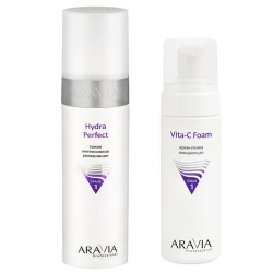 Фото Aravia Professional -  Тоник интенсивное увлажнение Hydra Perfect, 250 мл + Крем-пенка очищающая Vita-C Foaming, 160 мл