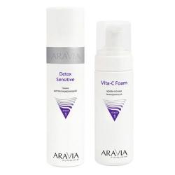 Фото Aravia Professional -  Тоник детоксицирующий Detox Sensitive, 250 мл + Крем-пенка очищающая Vita-C Foaming, 160 мл