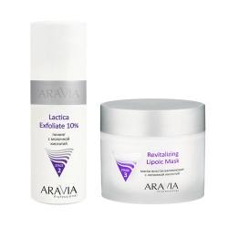 Фото Aravia Professional -  Пилинг с молочной кислотой Lactica Exfoliate, 150 мл + Маска восстанавливающая с липоевой кислотой Revitalizing Lipoic Mask, 300 мл