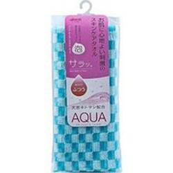 Фото Aisen Aqua - Массажная мочалка жесткая, с хитозаном, бирюзовая, в клетку, 28х110 см
