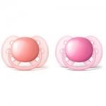 Фото Avent Philips Ultra Soft - Соска-пустышка силиконовая ортодонтическая, для девочек, 6-18 мес, 2 шт