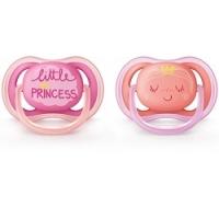 Купить Avent Ultra Soft - Соска-пустышка силиконовая ортодонтическая от 6-18 месяцев для девочки SCF343-22, 2 шт, Avent Philips