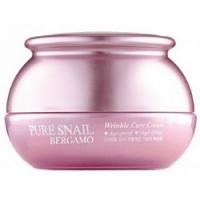 Bergamo Pure Snail Wrinkle Care Cream - Крем для лица с муцином улитки антивозрастной, 50 мл
