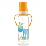 Фото Canpol Cheerful animals - Бутылочка тритановая с ручками с силиконовой соской 12+, 250 мл.