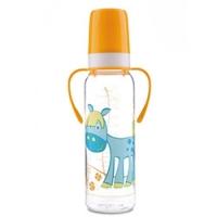 Canpol Cheerful animals - Бутылочка тритановая с ручками с силиконовой соской 12+, 250 мл.