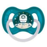 Canpol Space - Пустышка круглая латексная 0-6, цвет бирюзовый, 1 шт