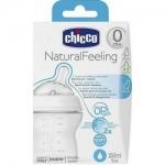 Фото Chicco Natural Feeling - Бутылочка силиконовая соска с наклоном и флексорами, 0+, 150 мл.