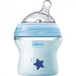 Фото Chicco Natural Feeling - Бутылочка силиконовая соска с наклоном и флексорами, 0+ голубая, 150 мл