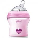 Фото Chicco Natural Feeling - Бутылочка силиконовая соска с наклоном и флексорами, 0+ розовая, 150 мл