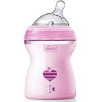 Chicco Natural Feeling - Бутылочка силиконовая соска с наклоном и флексорами, 2+ розовая, 250 мл