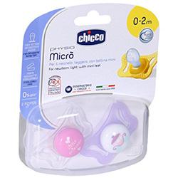 Фото Chicco Physio Micro - Пустышка силиконовая для принцессы от 0-2 месяцев, 2 шт