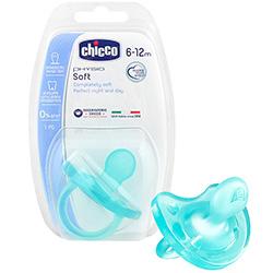 Фото Chicco Physio Soft - Пустышка силиконовая голубая, с 6-12 месяцев, 1 шт