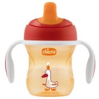 Chicco Training Cup - Чашка-поильник полужесткий носик 6+, цвет красный, 200 мл