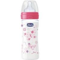 Chicco Well-Being Girl - Бутылочка с силиконовой соской и переменным потоком, с 2 месяцев, 250 мл