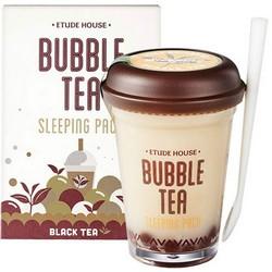 Фото Etude House Bubble Tea Sleeping Pack Black Tea - Маска ночная для лица с экстрактом черного чая, 100 г