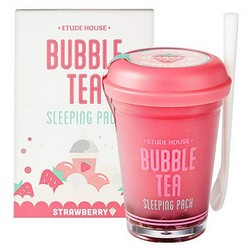 Фото Etude House Bubble Tea Sleeping Pack Strawberry - Маска ночная для лица с экстрактом клубники, 100 г