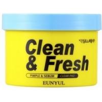 Eunyul Clean & Fresh Pimple & Sebum Clear Pad - Очищающие диски с кислотами, 170 мл