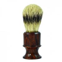 Metzger - Кисточка для бритья из барсучьего волоса с деревянным темно-коричневым основанием