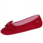 Фото Isotoner - Балеринки 97140 на кожаной подошве, Махра красная, размер 35-36
