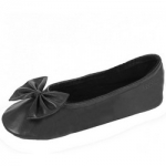 Фото Isotoner Club - Балеринки 97086 на кожаной подошве, кожа черные, размер 39-40