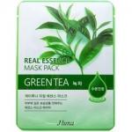 Фото Juno Real Essence Mask Pack Green Tea - Маска тканевая с зеленым чаем, 25 мл
