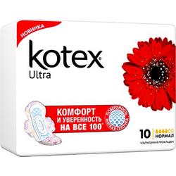 Фото Kotex Ultra Normal - Прокладки гигиенические ультратонкие, 10 шт