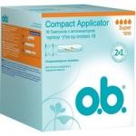Фото o.b. Compact Applicator Super - Тампоны женские гигиенические с аппликатором, 16 шт