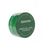 Фото Ayoume Green Tea Aloe Eye Patch - Патчи для глаз от отечности с экстрактом зеленого чая и алоэ, 60х1,4 г