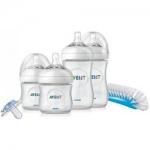 Фото Avent Natural - Подарочный набор для новорождённых, 2*125 мл, 2*260 мл, пустышка, щеточка