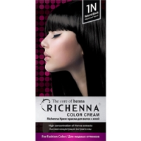 Richenna Color Cream 1 n - Крем-краска для волос с хной, натуральный черный фото