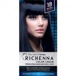 Фото Richenna Color Cream 1b - Крем-краска для волос с хной, иссиня-черный