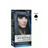 Richenna Color Cream 1b - Крем-краска для волос с хной, иссиня-черный