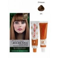 Richenna Color Cream 6 n - Крем-краска для волос с хной, светло-каштановый<br>