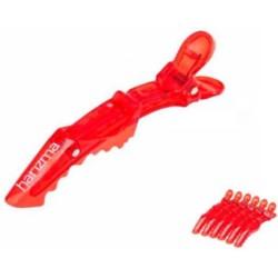 Harizma Mini, h10987-11 - Зажимы пластиковые усиленные 6 шт, красные